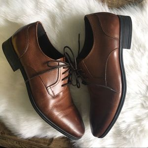 KENNETH COLE REACTION Brown Tie Oxford Shoes